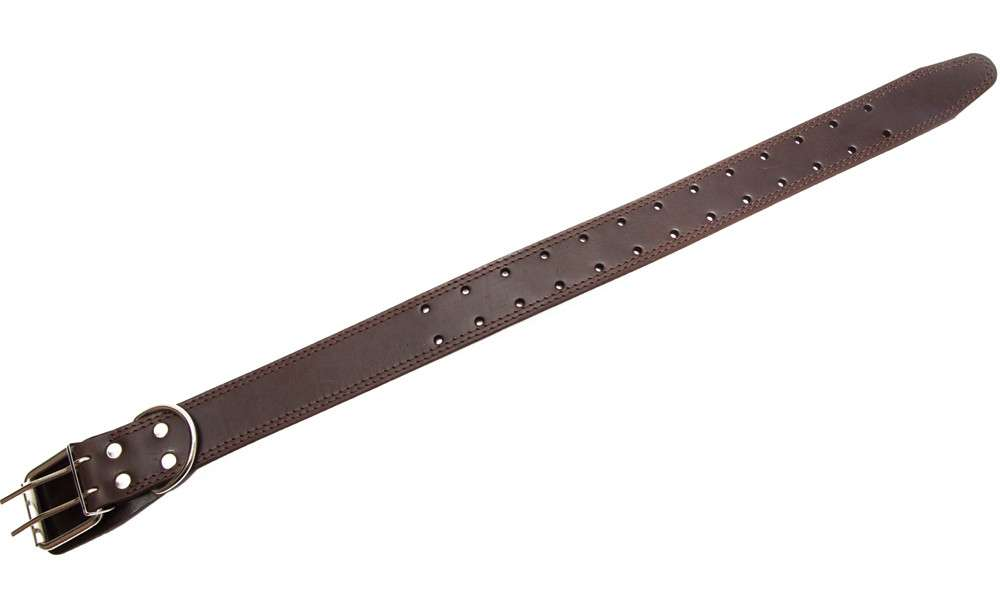 Bark&Bones Collar de Cuero con Agujeros redondos  Marron oscuro 35-66x4.5 cm