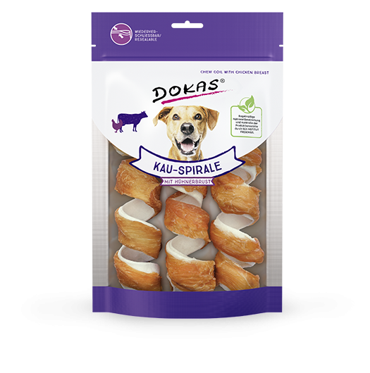 Chewing Sticks, Rolls and Strips Chew Spiral with Chicken Breast 110 g  by Dokas Buy fair and favorable with a discount