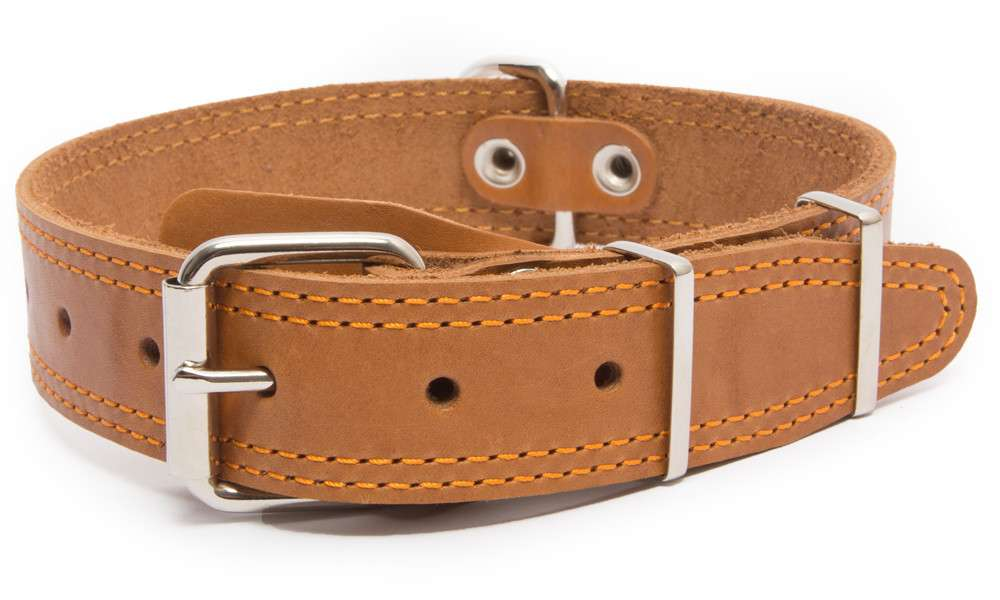 Bark&Bones Collar de Cuero con Parte Trasera de Tejido con Dobles Bordes Cosidos 54-66x3.5 cm