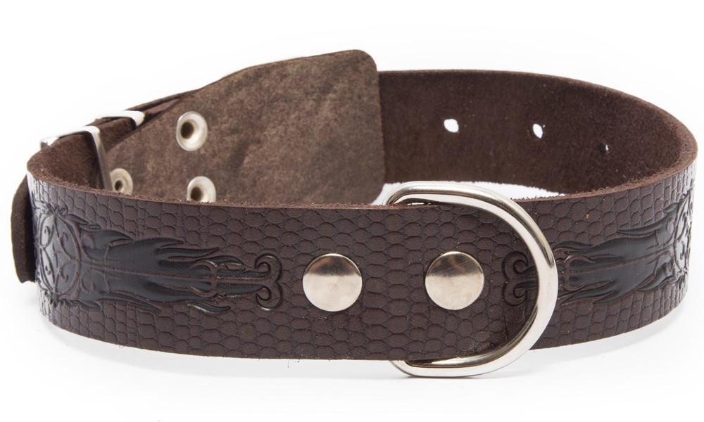 Bark&Bones Collar de Cuero con Diseño de Reptil y Hebilla en el medio  Marron oscuro L