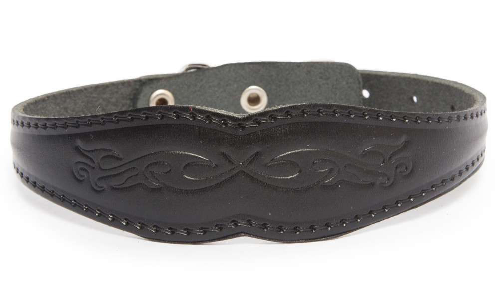 Bark&Bones Collar with Wide Center and Pattern Black 27-36x3.1 cm