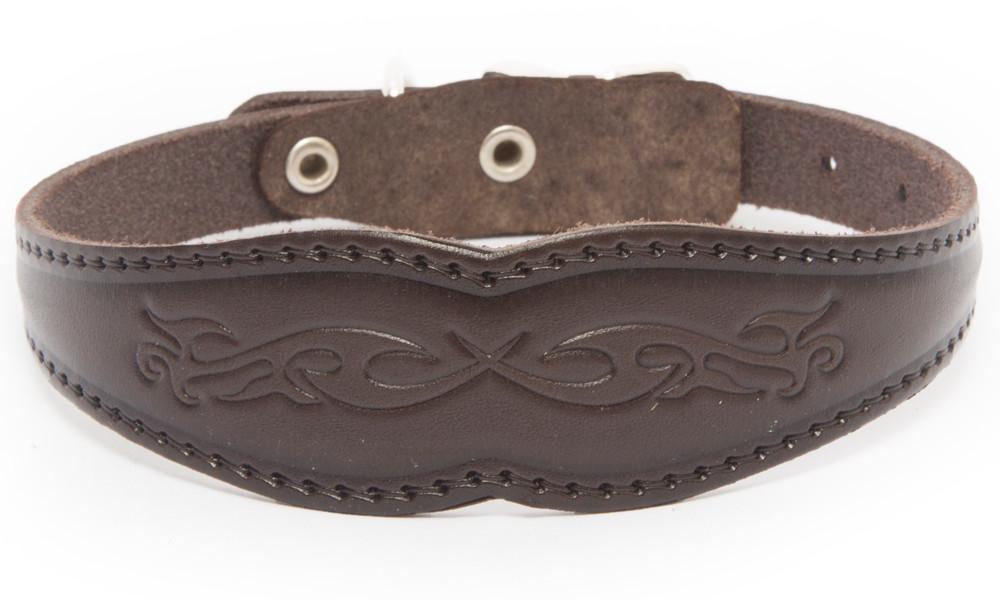 Bark&Bones Collar Ancho con Motivo para Perros  Marron oscuro 27-36x3.1 cm