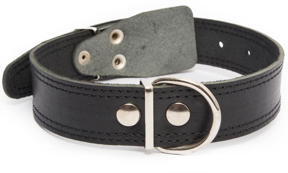 Bark&Bones Collar de Cuero con Parte Trasera de Tejido con Dobles Bordes Cosidos  Negro 54-66x3.5 cm