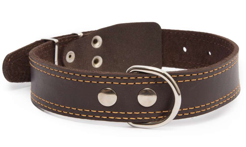 Bark&Bones Leather collar with textile back, double stitched edges, XL Dark brown 54-66x3.5 cm