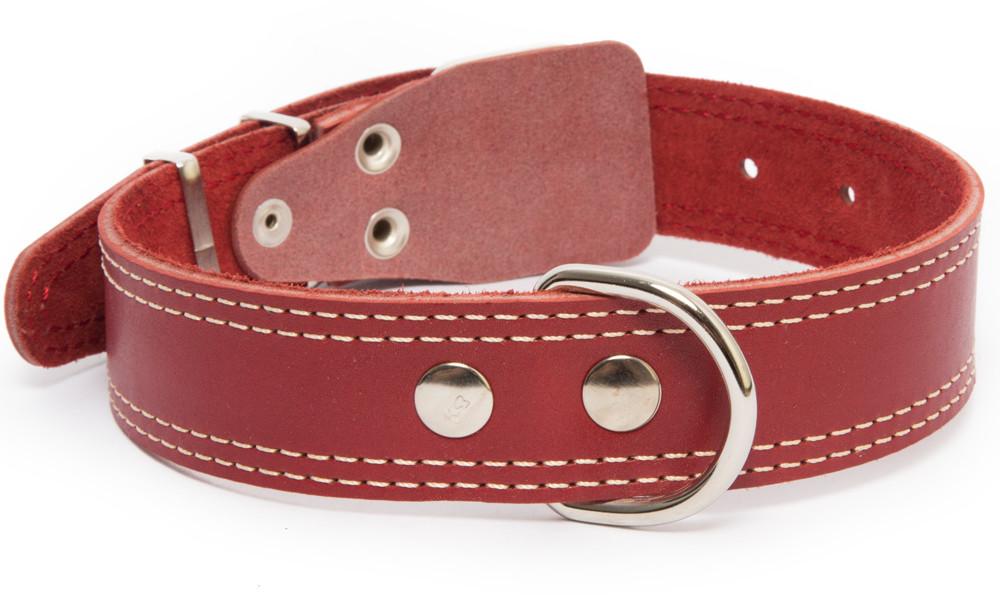 Bark&Bones Collar de Cuero con Parte Trasera de Tejido con Dobles Bordes Cosidos  Burdeos 54-66x3.5 cm