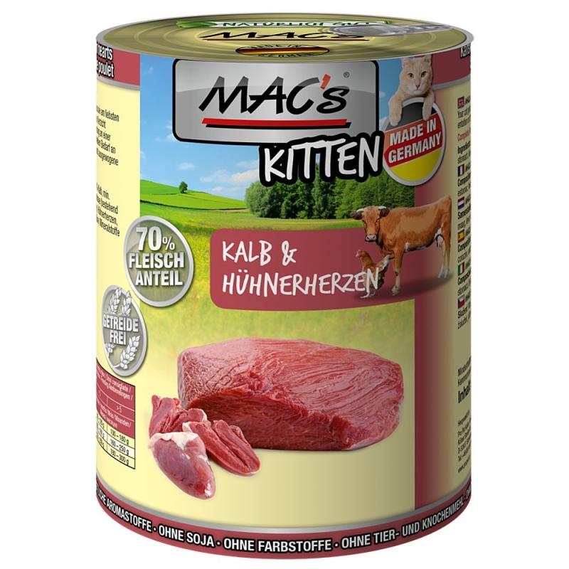 MAC's Kitten - Veau & Cœurs de Poulets Poids 400 g