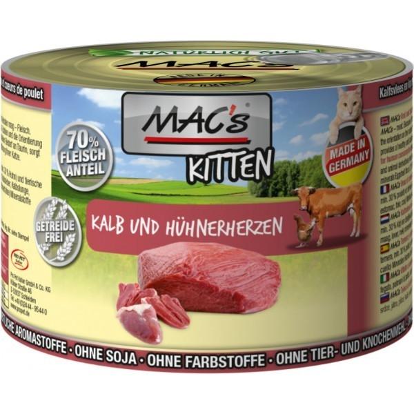 MAC's Kitten - Veau & Cœurs de Poulets 800 g, 400 g, 200 g