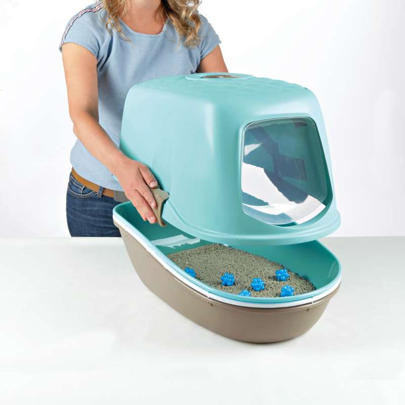 Trixie Berto Top Litter Tray, with Separating System, Threepart  Aqua 39x42x59 cm
