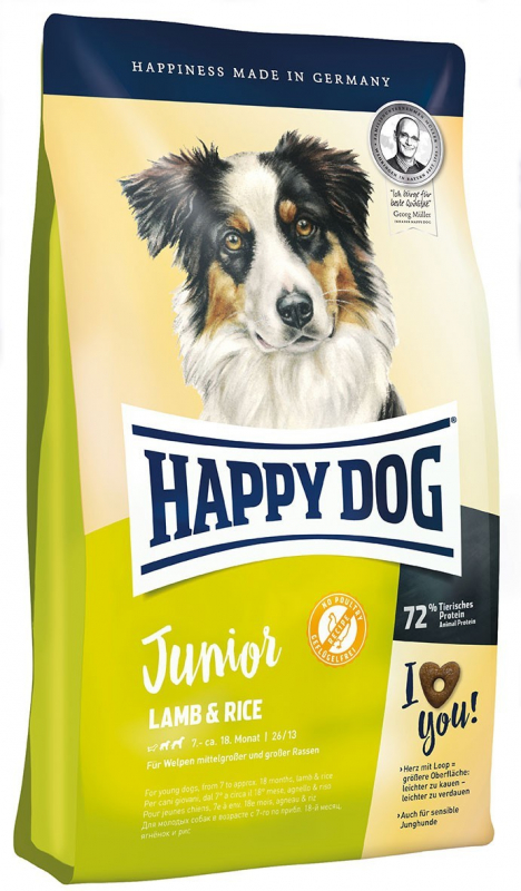 Happy Dog Supreme Young Junior com Cordeiro & Arroz 1 kg, 10 kg, 4 kg