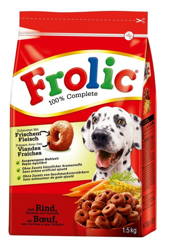 Frolic 100% Complete with Beef, Carrots & Cereals + 200 g Free 7.5 kg, 1.7 kg