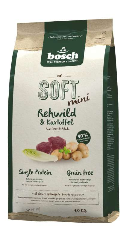 Bosch Soft Mini - Roe Deer & Potato 2.5 kg, 1 kg köp billiga på nätet