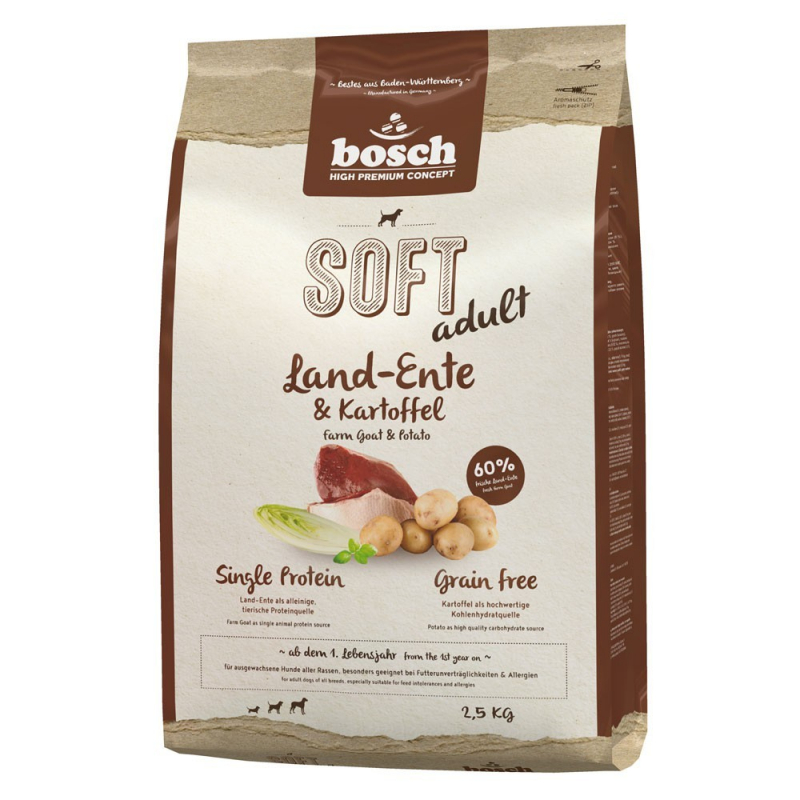 Bosch Soft Adult - Farm Duck & Potato 2.5 kg 4015598009249 anmeldelser
