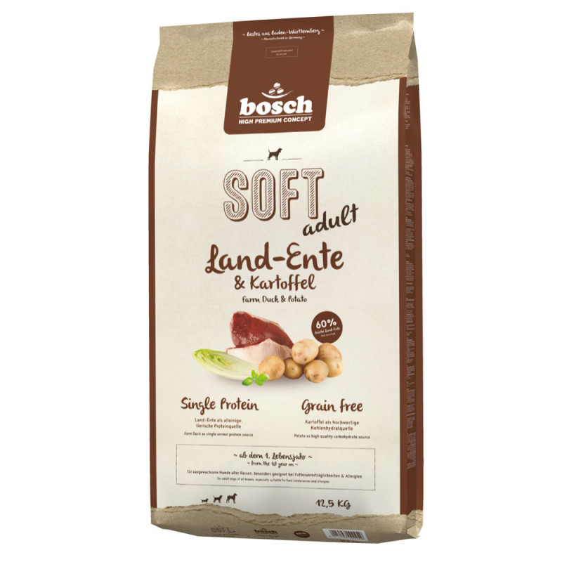 Bosch Soft Adult - Farm Duck & Potato 12.5 kg, 2.5 kg, 1 kg kjøp billig med rabatt