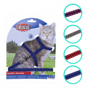 Cat Harness with Leash, reflecting, nylon 22-42x1 cm