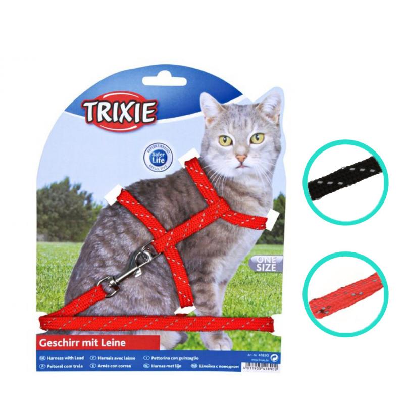 Trixie Kattsele & Koppel Reflex, nylon
