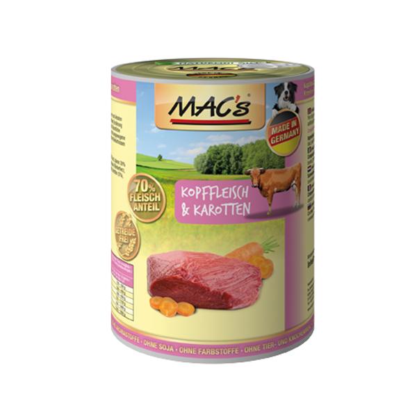 MAC's Dog - Viande de Tête de Bœuf & Carottes 400 g