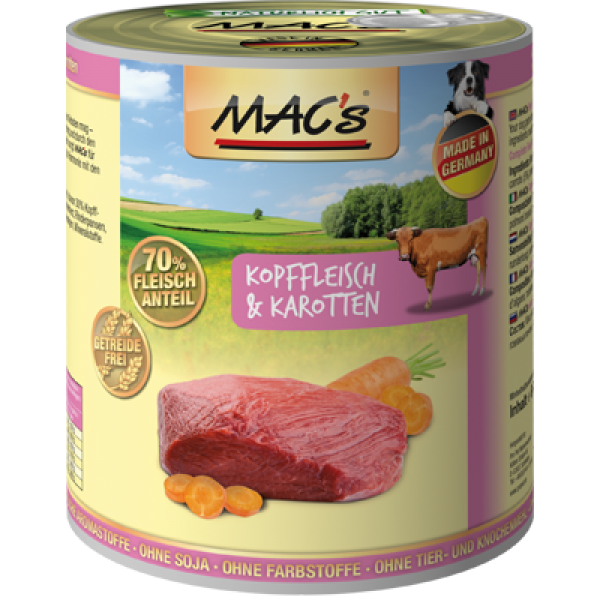 MAC's Dog - Beef Head Meat & Carrots 800 g, 400 g, 200 g