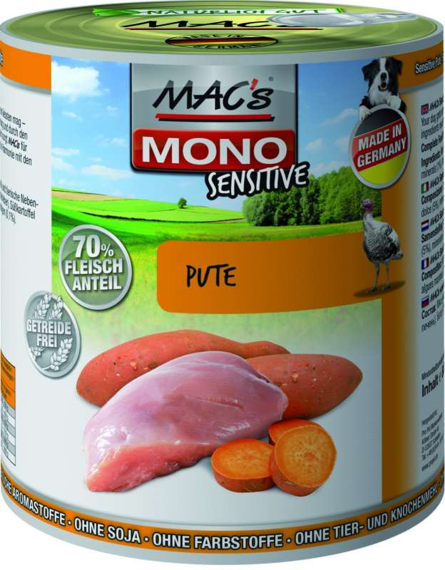 MAC's Dog Mono Sensitive - Turkey 400 g, 800 g, 200 g