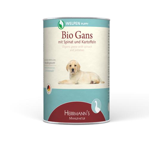 Herrmann's  Puppy Bio - Gans met Spinazie en Aardappelen  Gans & Spinazie 400 g
