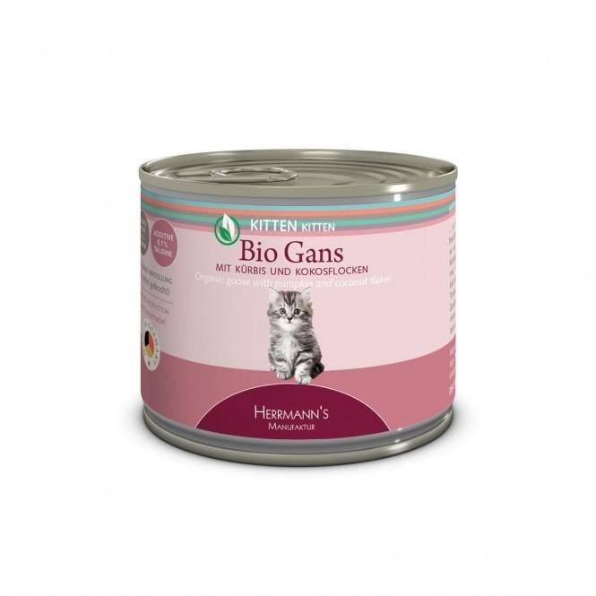 Herrmann's  Kitten - Bio Oie avec Citrouille et Flocons de Noix de Coco, Boîte 200 g