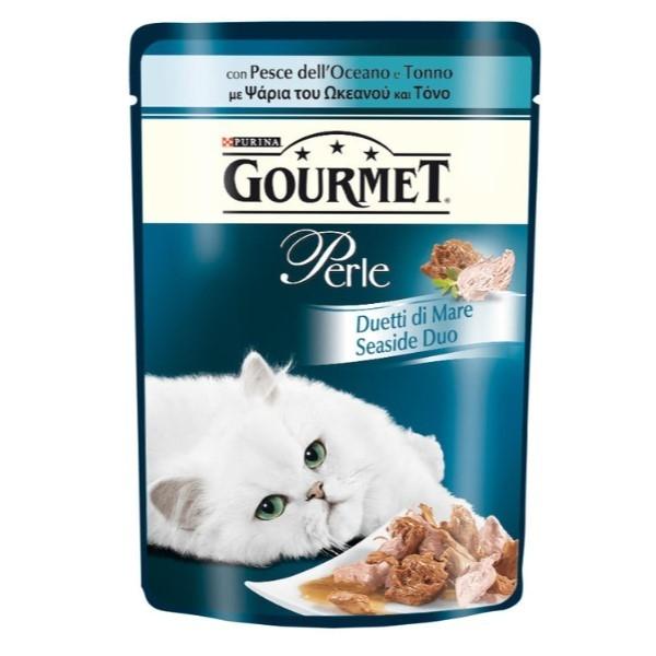 Purina Gourmet Perle, Strandbreds-Duo (med laks & Pollack, Med havet Fisk & Tun, med laks & hvid fisk, med sardin & tun) 12x4x85 g