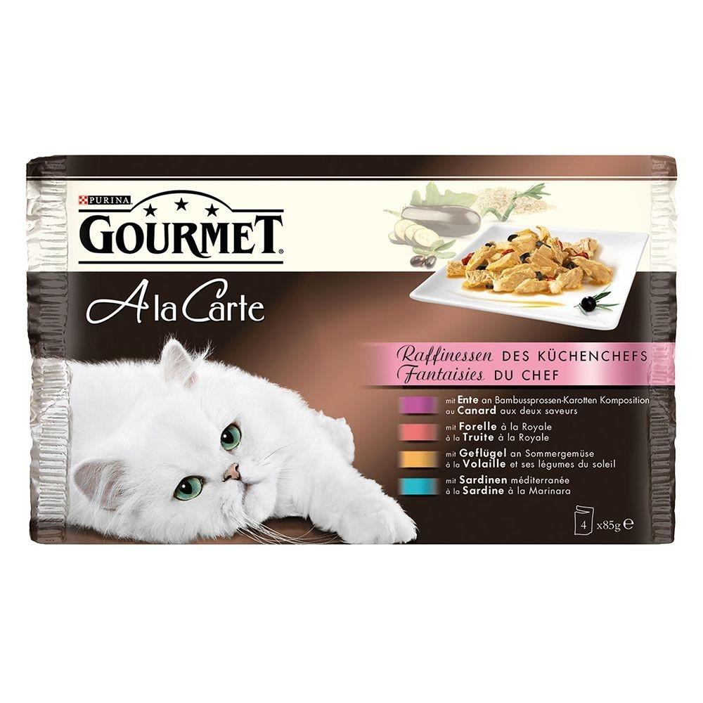 Purina Gourmet A la Carte, Køkkenchefens finesser  (Sardin, And, Kylling, ørred) Multipack 4x85 g