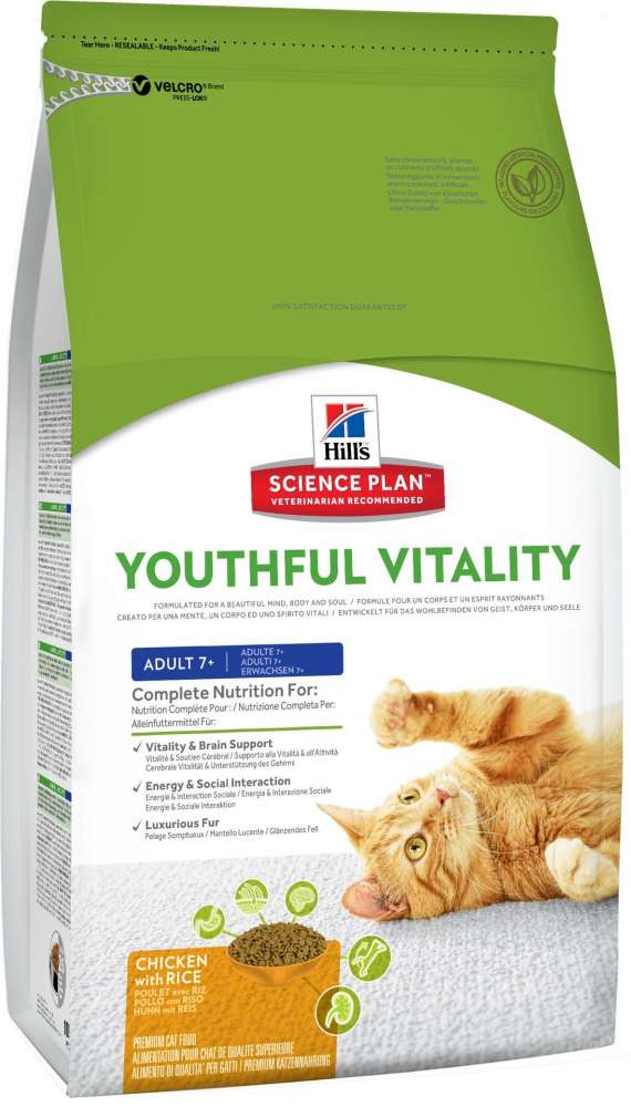 Hill's Science Plan Feline Adult 7+ Youthful Vitality med Kylling og Ris 1.5 kg, 250 g, 6 kg kjøp billig med rabatt
