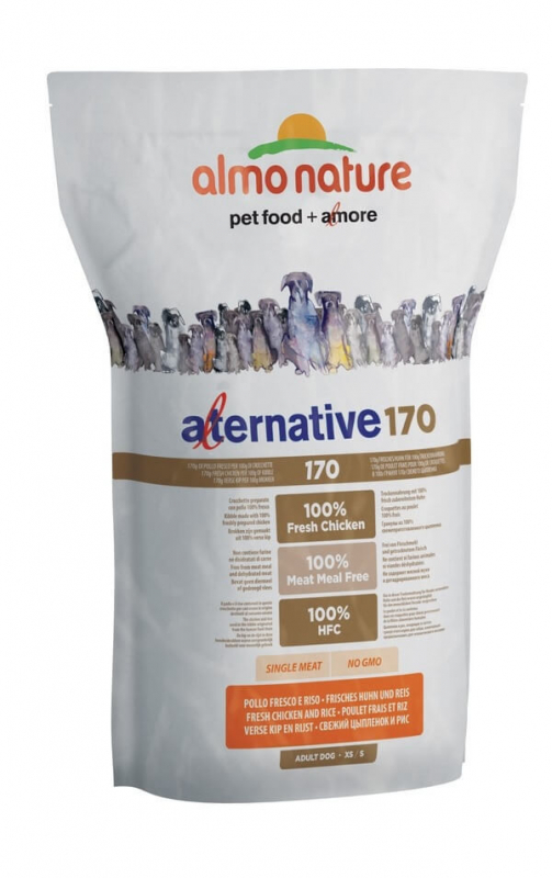 Almo Nature Alternative 170 Extra Small + Small Kip en Rijst 750 g, 3.75 kg