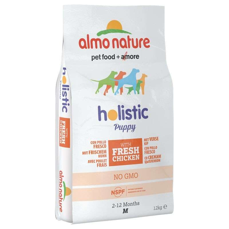 Almo Nature Holistic Puppy Medium met Kip 12 kg, 2 kg