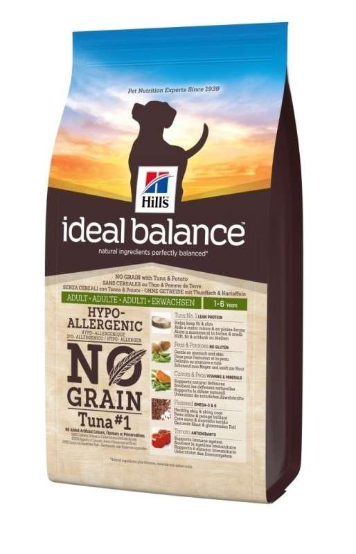 Hill's Ideal Balance Canine - Adult No Grain Atún con Patata 800 g, 2 kg, 12 kg
