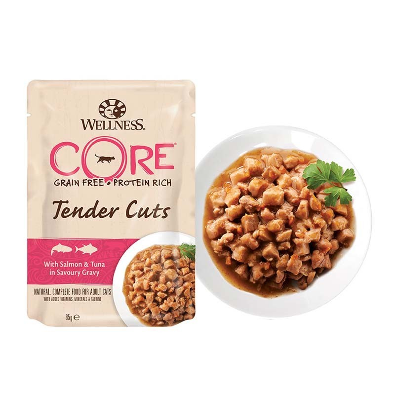 Wellness Core Tender Cuts au Thon & Saumon en Sauce Délicieuse Sachet 85 g