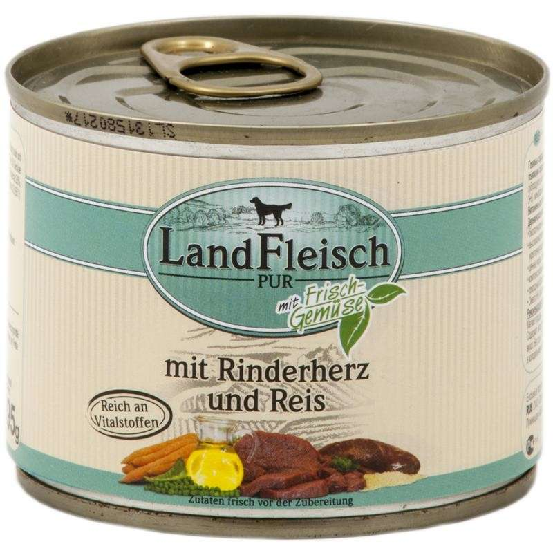 Landfleisch Pur Beef heart & rice with fresh vegetables Can 195 g 4003537403340 erfaringer