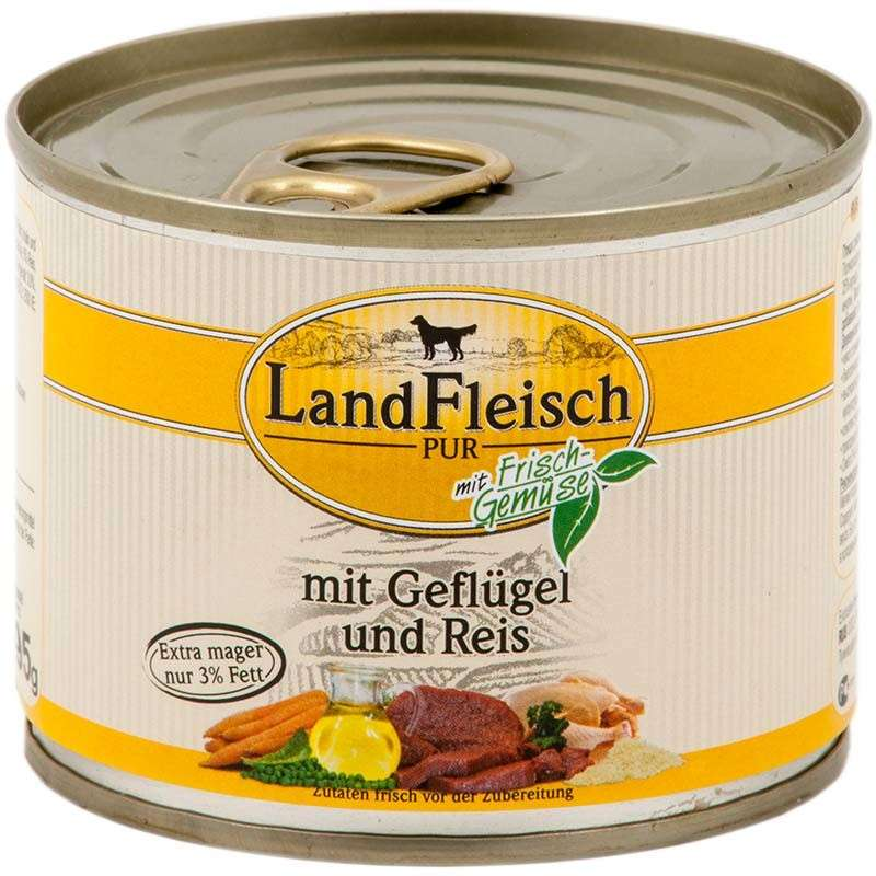 Landfleisch Pur Poultry & Rice extra low-fat with fresh vegetables Can 195 g