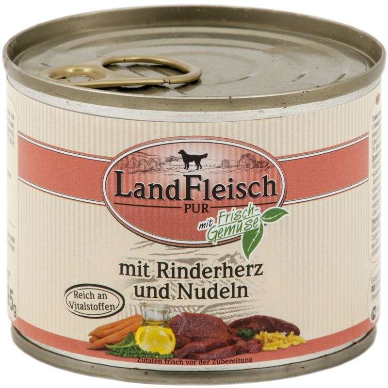 Landfleisch Pur Beef heart & noodles with fresh vegetables Can 800 g, 400 g, 195 g