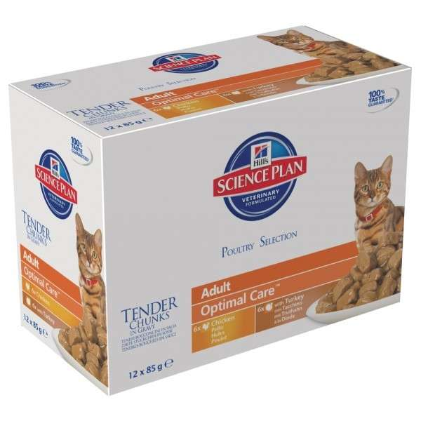Hill's Science Plan Feline Adult Optimal Care Chicken & Turkey in Gravy 12x85 g