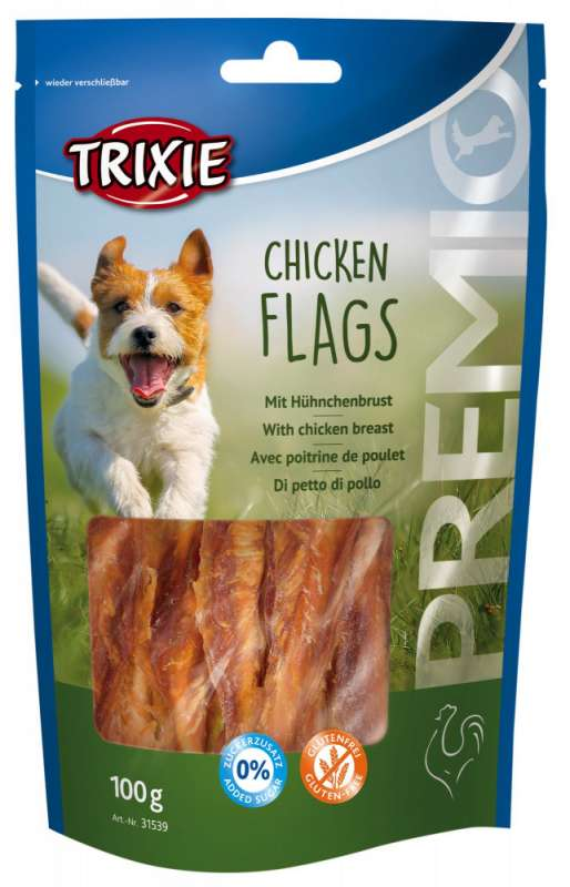 Trixie Premio Chicken Flags 100 g, 400 g, 80 g, 75 g, 300 g, 40 g con uno sconto