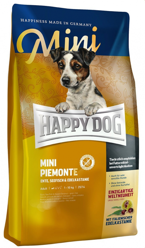 Happy Dog Supreme Mini Piemonte with Duck, Salt-Water Fish and Sweet Chestnut 300 g, 1 kg, 4 kg kjøp billig med rabatt