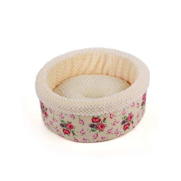 All for Paws Shabby Chic Round Bed Cream  Beige Round