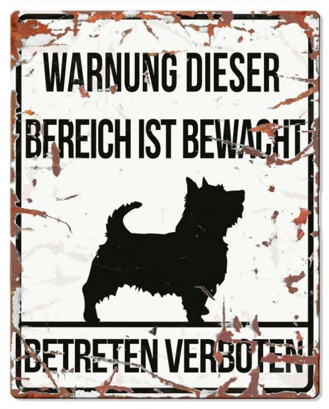 Europet-Bernina D&D Homecollection, Warnschild Terrier, weiß/schwarz  Weiß Terrier, quadratisch