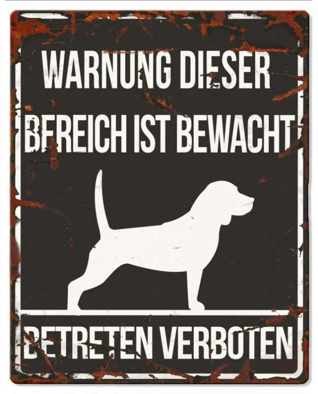 Europet-Bernina D&D Homecollection, Warnschild Beagle  Schwarz Beagle, quadratisch