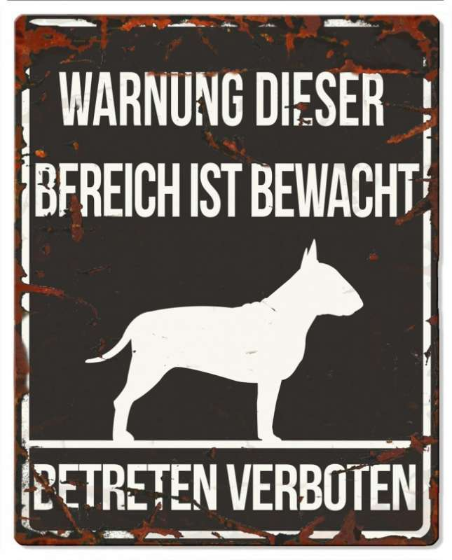 Europet-Bernina D&D Homecollection, Warnschild Bull Terrier, schwarz/weiß Schwarz Bull Terrier, quadratisch