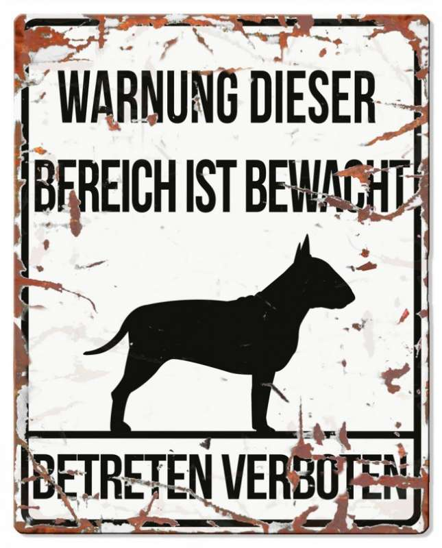 Europet-Bernina D&D Homecollection, Warnschild Bull Terrier, weiß/schwarz Weiß Bull Terrier, quadratisch