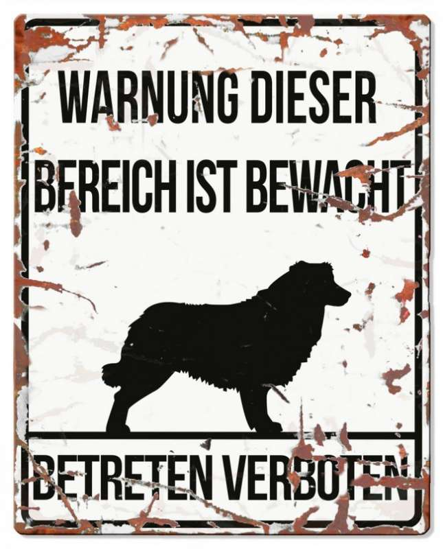 Europet-Bernina D&D Homecollection, Warnschild Collie, weiß/schwarz Weiß Collie, quadratisch