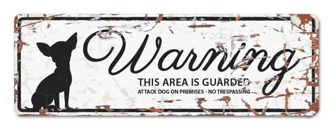 Europet-Bernina D&D Homecollection Warning Sign - Mini Chihuahua White - English Version  Hvid Mini Chihuahua
