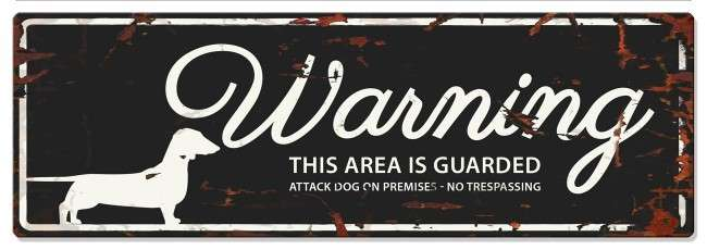 Europet-Bernina D&D Homecollection Warning Sign - Dachshund Black - English Version  Sort Dachshund