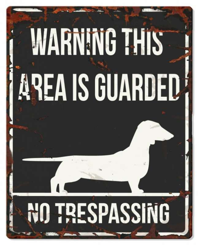 Europet-Bernina D&D Homecollection Warning Sign - Square Dachshund Black - English Version Mini Chihuahua