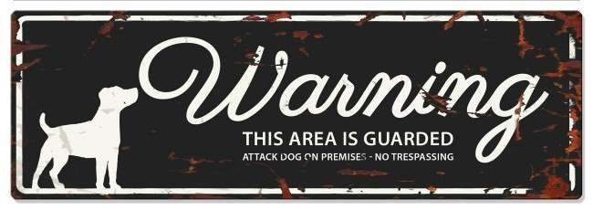 Europet-Bernina D&D Homecollection Warning Sign - Jack Russel Black - English Version  Sort Jack Russel