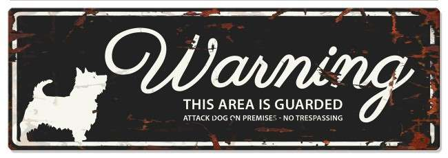 Europet-Bernina D&D Homecollection Warning Sign - Terrier Black - English Version Mini Chihuahua