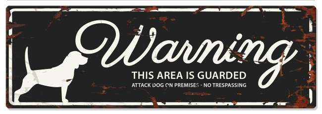 Europet-Bernina D&D Homecollection Warning Sign - Beagle Black - English Version  Sort Beagle