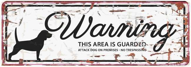Europet-Bernina D&D Homecollection Warning Sign - Beagle White - English Version  Hvid Beagle